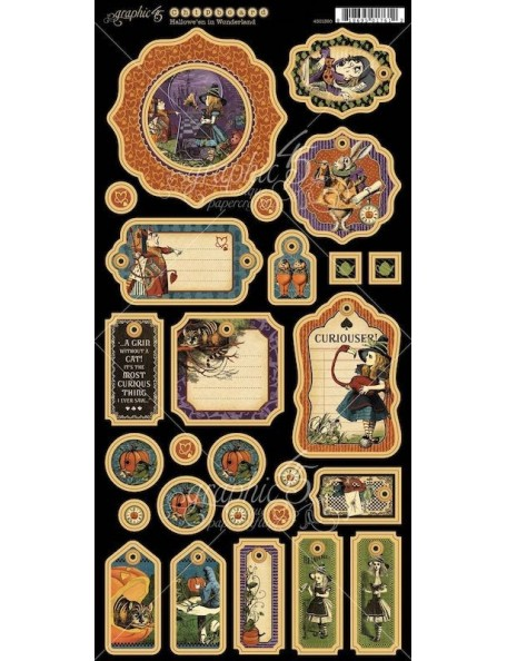 "Graphic 45 Hallowe'en In Wonderland Chipboard Die-Cuts 6""X12"" Sheet, Decorative"