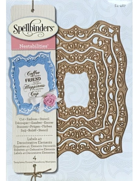 Spellbinders Nestabilities Dies, Labels 40 Decorative Elements