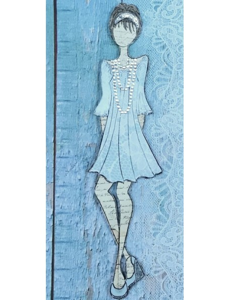 "Prima Marketing Julie Nutting Mixed Media Cling Rubber Stamps,Doll W/Peasant Dress 2""X7.75"""