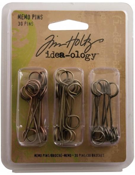 """Tim Holtz - Idea-Ology Memo Pins 1.5"""" Antique Nickel, Brass & Copper"""
