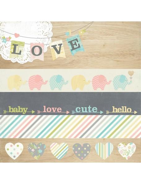 "Simple Stories Hello Baby Cardstock de doble cara 12""x12"", 12x12"" Bordes & 4""x12"" Title Strip Elements"