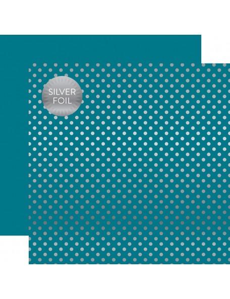 Echo Park Foiled Dot&Stripe, Silver Foil Blue