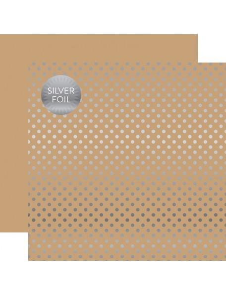 Echo Park Foiled Dot&Stripe, Silver Foil Tan