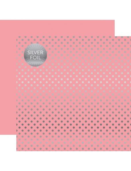 Echo Park Foiled Dot&Stripe, Silver Foil Pink