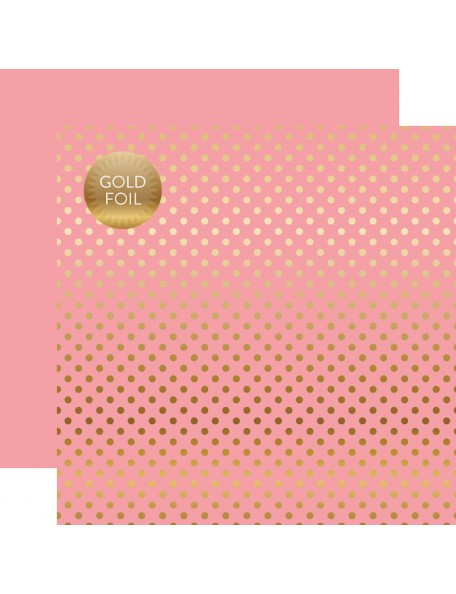Echo Park Foiled Dot&Stripe, Gold Foil Pink