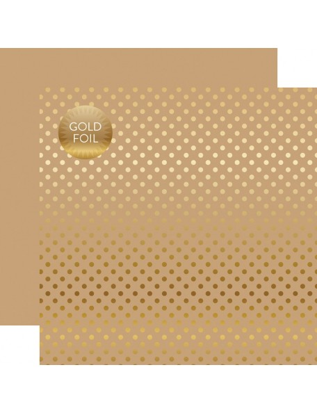 Echo Park Foiled Dot&Stripe, Gold Foil Tan
