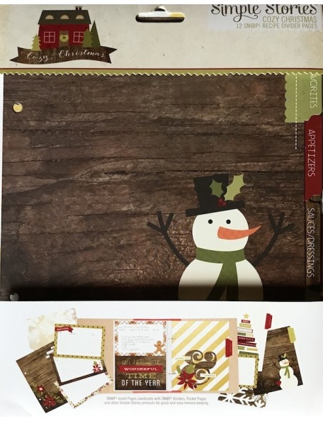 """Simple Stories Cozy Christmas Sn@P! Recipe Divider Pages 6""""X8"""" 12"""