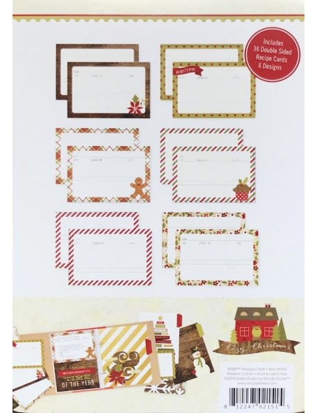 "Simple Stories Cozy Christmas Sn@p! Recipe Cards 4""X6"" 36"