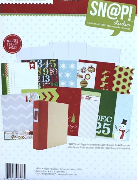 """Simple Stories December Documented Sn@P! Journal Pages 6""""X8"""" 12"""