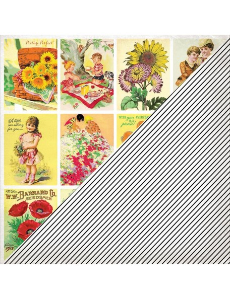 "Authentique Cheerful Cardstock de doble cara 12""X12"", Twelve, Vintg Cut-Aparts/Diagonal Stripe"