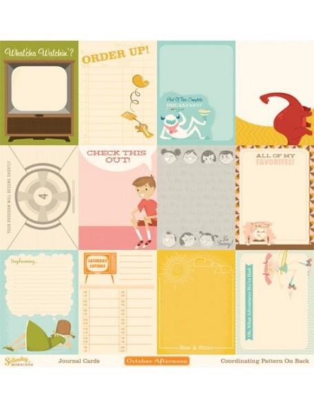 "October Afternoon - Saturday Mornings Cardstock de doble cara Journaling Cards 12""X12"""