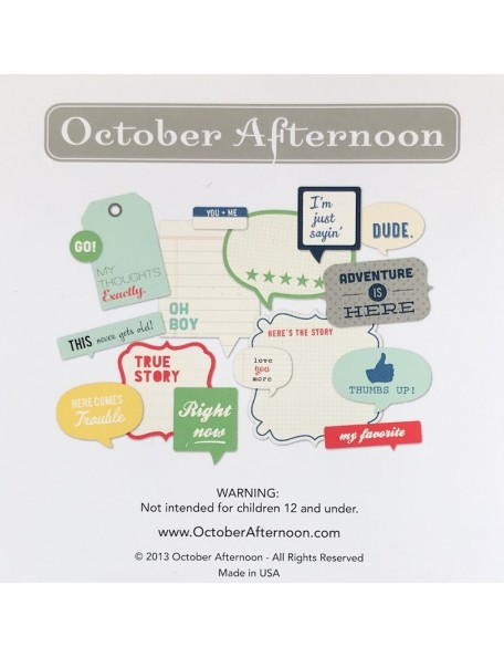 October Afternoon Daily Flash All Boy Cardstock Die-Cuts Flash Blurbs 16