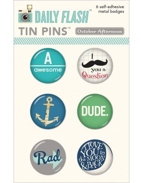Daily Flash All Boy Tin Pins Adhesive Metal Badges 6
