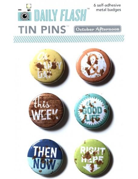 October Afternoon Daily Flash Tin Pins Adhesive Metal Badges 6 Good Day