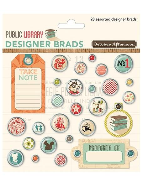 October Afternoon Public Library Designer Brads 28 Assorted