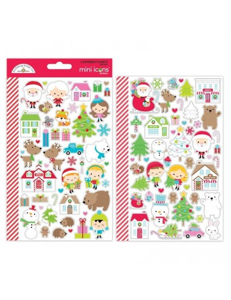Dooblebug Mini Cardstock Stickers 2, Christmas Town Icons