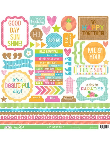 """Doodlebug Spring Garden Cardstock Stickers 12""""X12"""" This & That"""