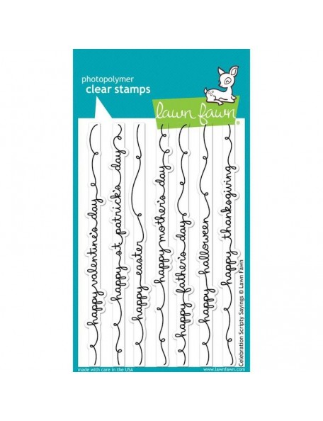 "Lawn Fawn Celebration Scripty Sayings Clear Stamps 4""X6"""
