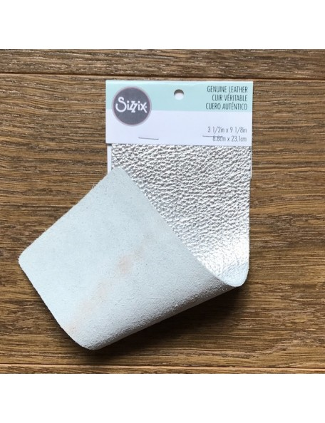 "Sizzix Metallic Cowhide Leather 3""X9"" Silver"