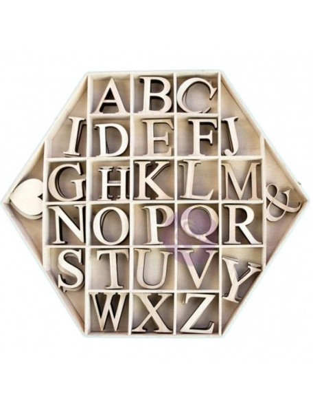 """Prima Marketing Laser-Cut Wood Alphas In A Shaped Box Hexagon W/1.75"""" Letters & Shapes 56"""