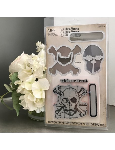 Sizzix Framelits set de troquel con sello de Tim Holtz, calabera/Skull Blueprint