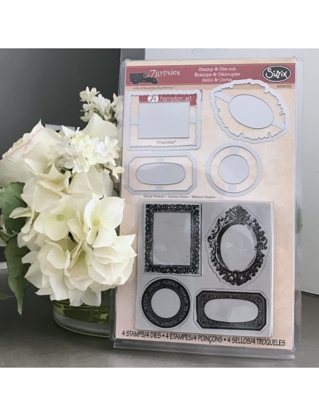 Sizzix Framelits Dies 4 W/Cling Stamps By 7 Gypsies Frames
