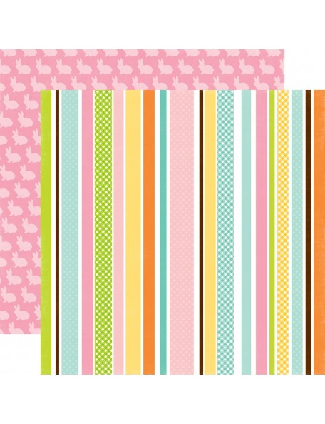 "Echo Park Easter Cardstock de doble cara 12""X12"", Easter Stripe"