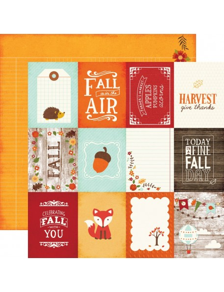 "Echo Park The Story Of Fall Cardstock de doble cara 12""X12"" , 3x4 Journaling Cards"
