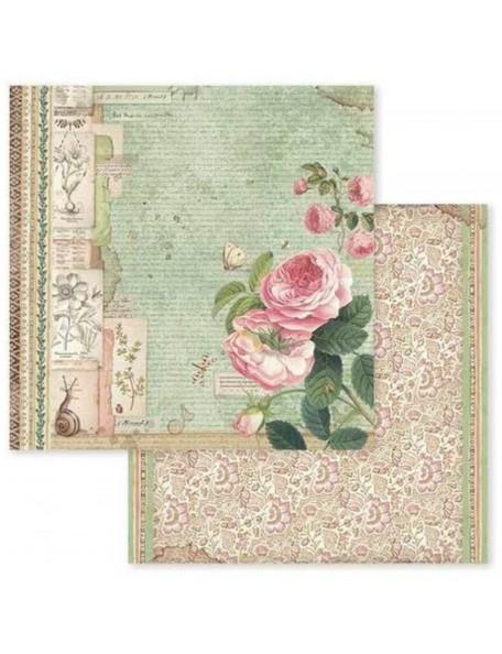 Stamperia, Spring Botanic English Roses W/Snail SBB592