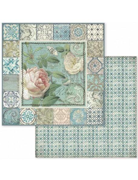 Stamperia Azulejo Frame W/Rose SBB606