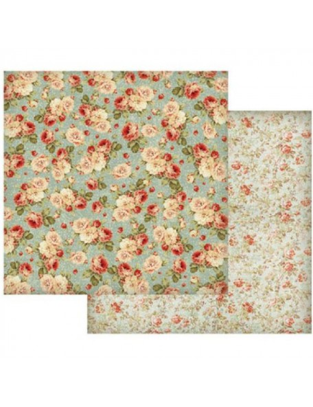 Stamperia, Floral Wallpaper On Turquoise Background SBB419