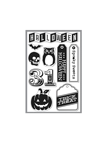 hero arts basic grey sello reposicionable, happy halloween