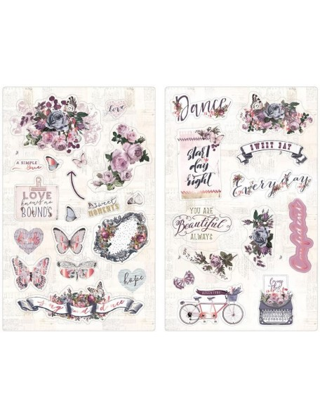 """Prima Marketing Lavender Chipboard Stickers 5""""X8"""" 2, Icons W/Rose Gold Foil Accents"""