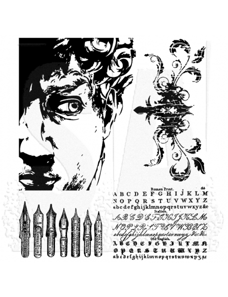 """Tim Holtz Stamper Anonymous Artful Artifacts Cling Stamps 7""""X8.5"""""""