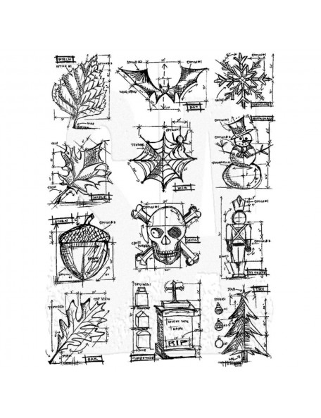 "Tim Holtz Stamper Anonymous Mini Blueprint Cling Stamps 7""X8.5"""