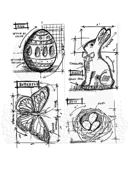"Tim Holtz Stamper Anonymous Eater Blueprint Sello 7""x8,5"""
