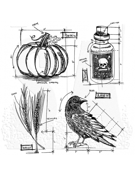 """Tim Holtz Stampers Anonymous Halloween Blueprints No.2, 7""""X8.5"""""""