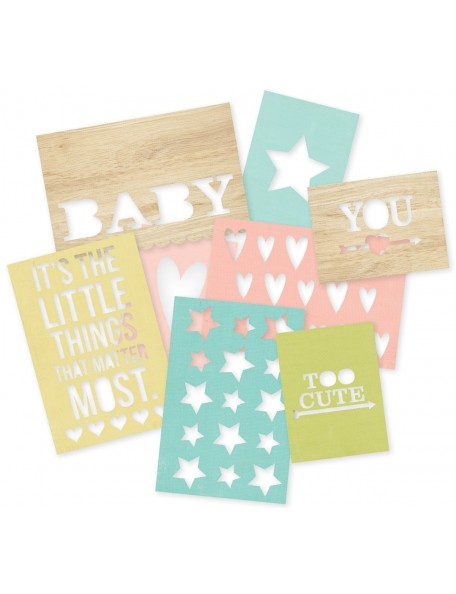 """Simple Stories Sn@p! Cuts 8 Hello Baby (4) 4""""X6"""" & (4) 3""""X4"""""""
