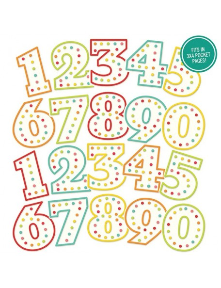 Simple Stories Let's Party Pocket Pieces Die-Cuts 20 Numbers