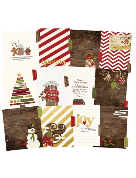 "Simple Stories Cozy Christmas Sn@P! Recipe Divider Pages 6""X8"" 12"