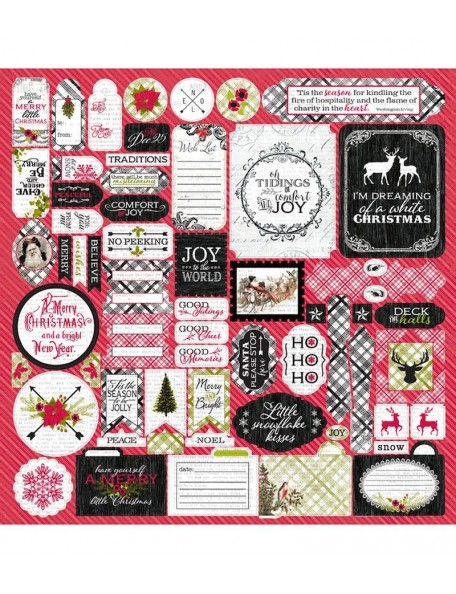 "Authentique Tidings Cardstock Stickers 12""X12"" Details"