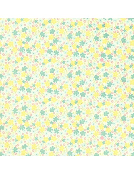 Authentique Springtime Three, Floral/Soft Blue Gingham
