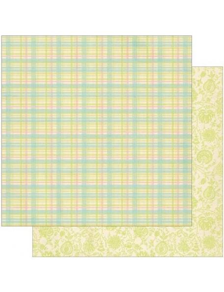 Authentique Springtime Two, Preppy Plaid/Green Outlined Floral
