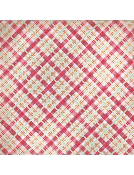 "Authentique Cheerful Cardstock de doble cara 12""X12"", Nine, Picnic Word Green/Multi Plaid"