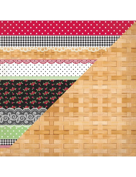 "Authentique Cheerful Cardstock de doble cara 12""X12"", Eleven, Border Mix/Plain Basket Weave"