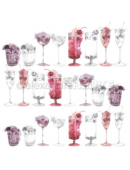 Alexandra Renke, Berry Cocktails Sketches