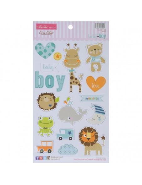 Bella BLVD Cute Baby-Boy Icons Adhesive Chipboard