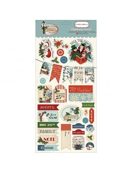 "Carta Bella Christmas Wonderland Chipboard Accents 6""X13"""