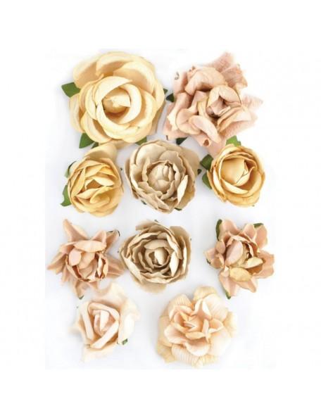 """Kaisercraft Paper Blooms 1"""" - 1.5"""" 10 Honey"""