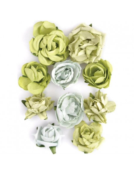 """Kaisercraft Paper Blooms 1"""" - 1.5"""" 10 Olive"""